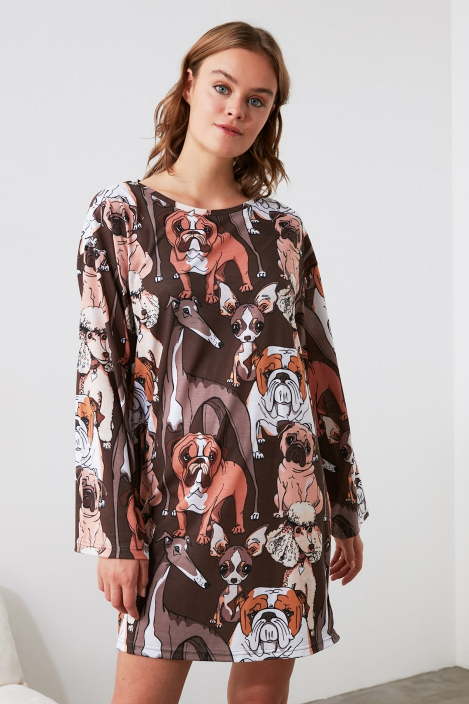 Trendyol Dog Printed Knitted Dress
