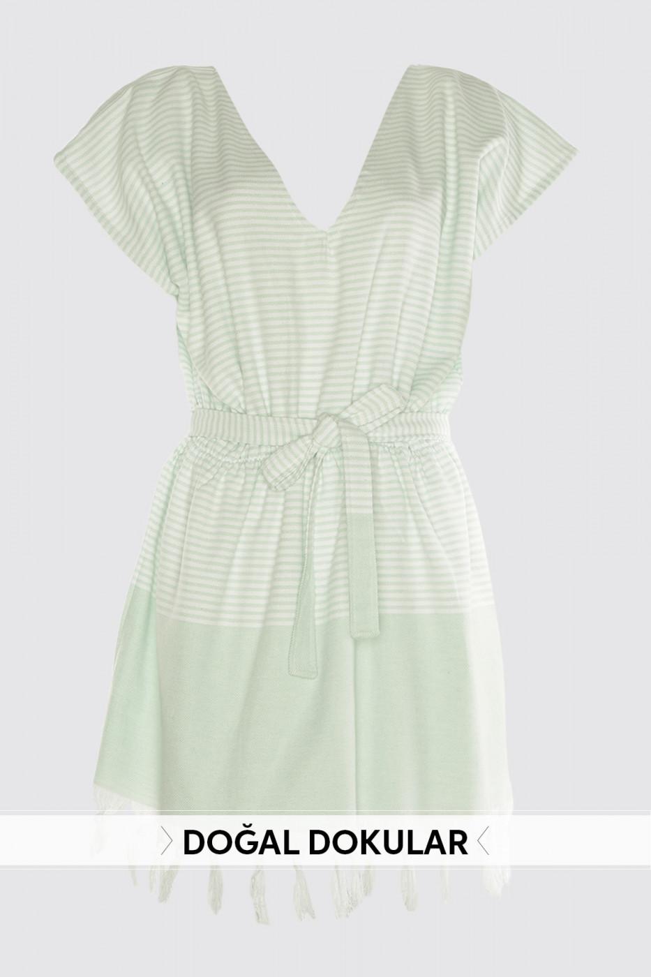 Trendyol Mint Tasseled Natural Textured Dress