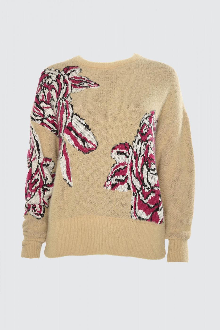 Trendyol Camel Jacquard Beard Rope Knit Sweater
