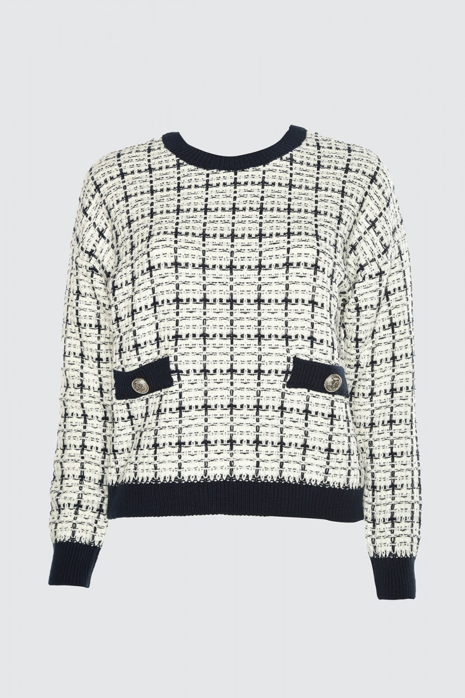 Trendyol Navy Simli Tweed-Looking Knit Sweater