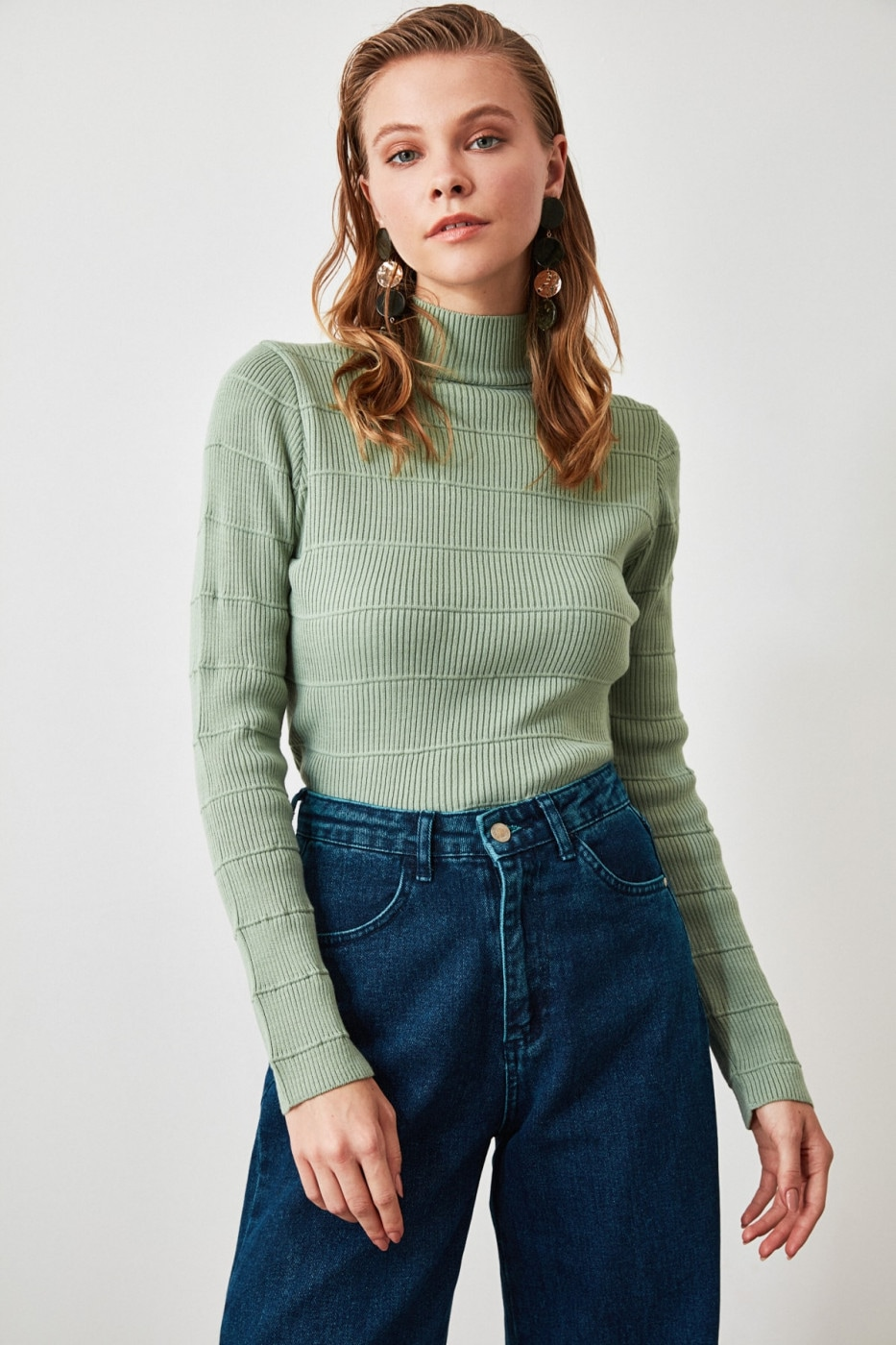 Trendyol Mint Knitted Detailed Knitwear Sweater