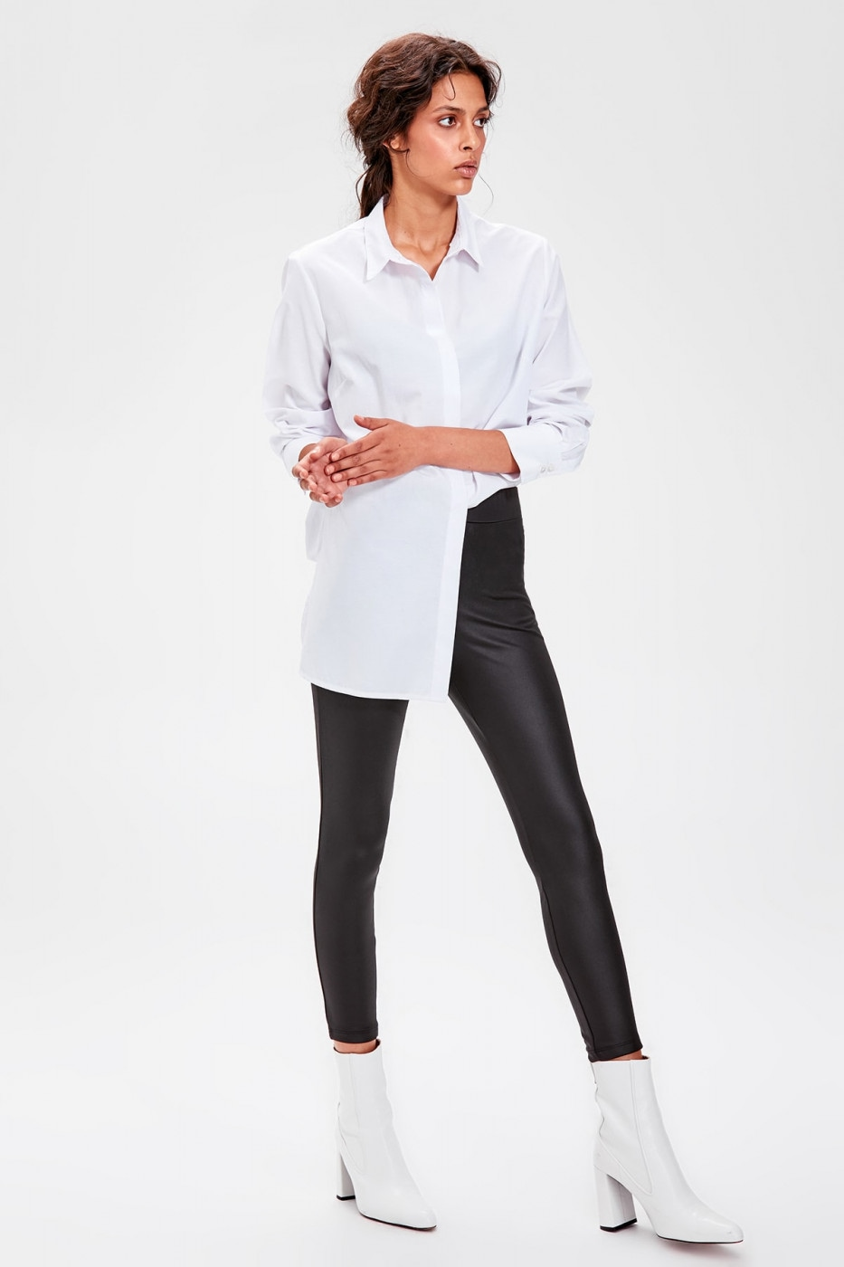 Trendyol Black Leather Looking Knitted Tights