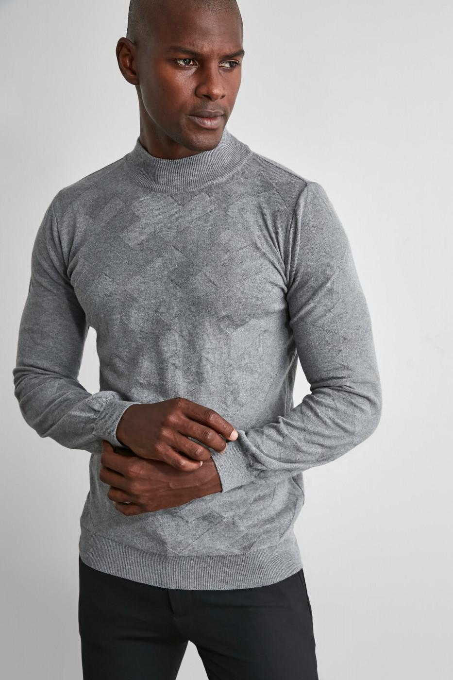 Trendyol Grey Male Half Fisherman Textured Knitwear Sweater