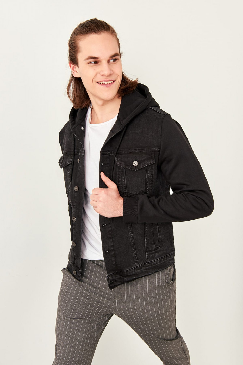 Trendyol Black Men's Hooded Denim Jacket