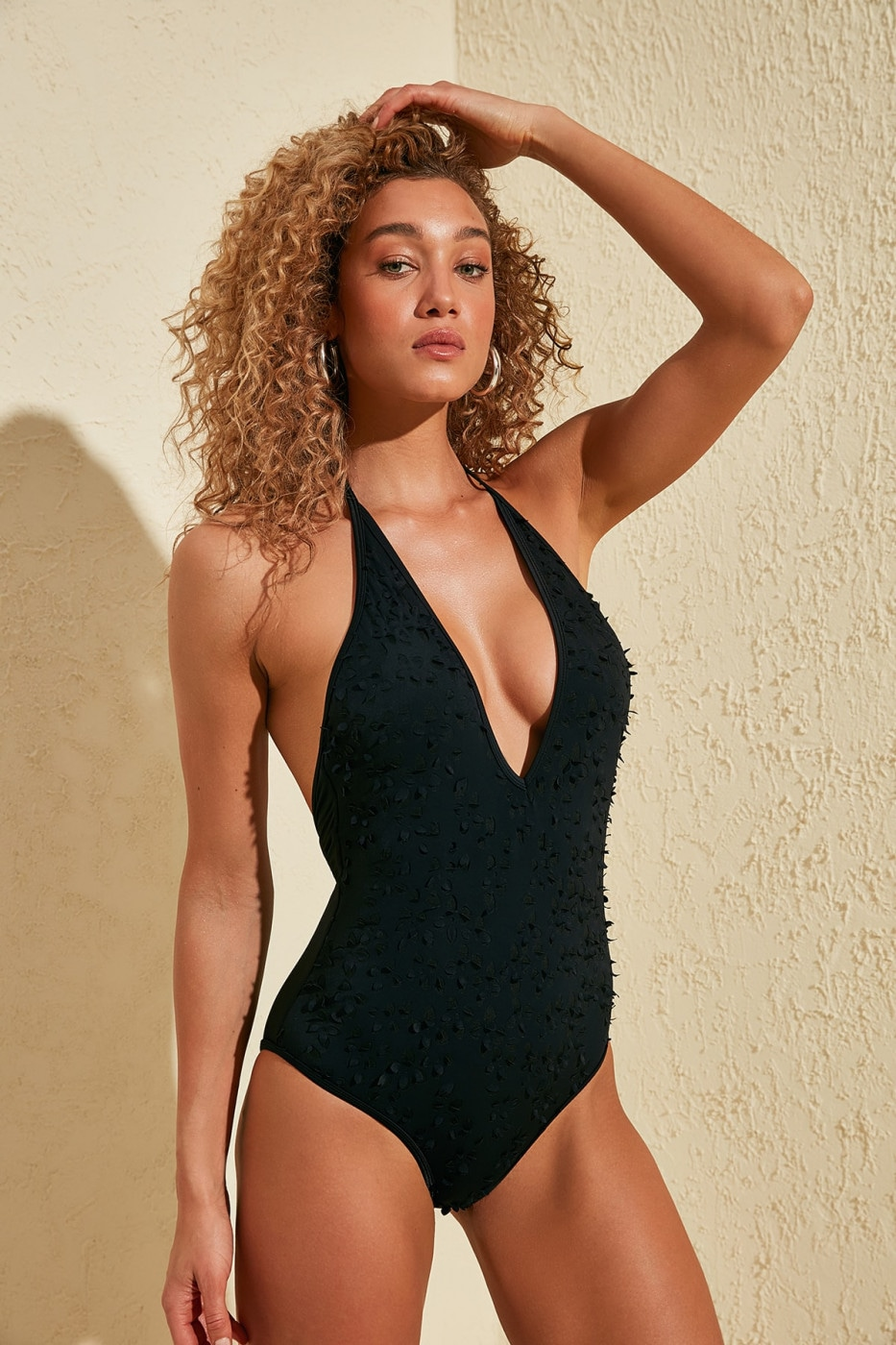 Trendyol Black Three-Dimensional Swimsuit