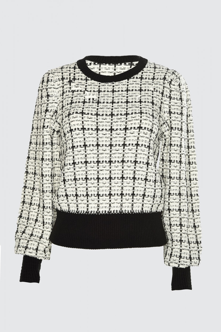 Trendyol Ekru Simli Tweed-View Knit Sweater
