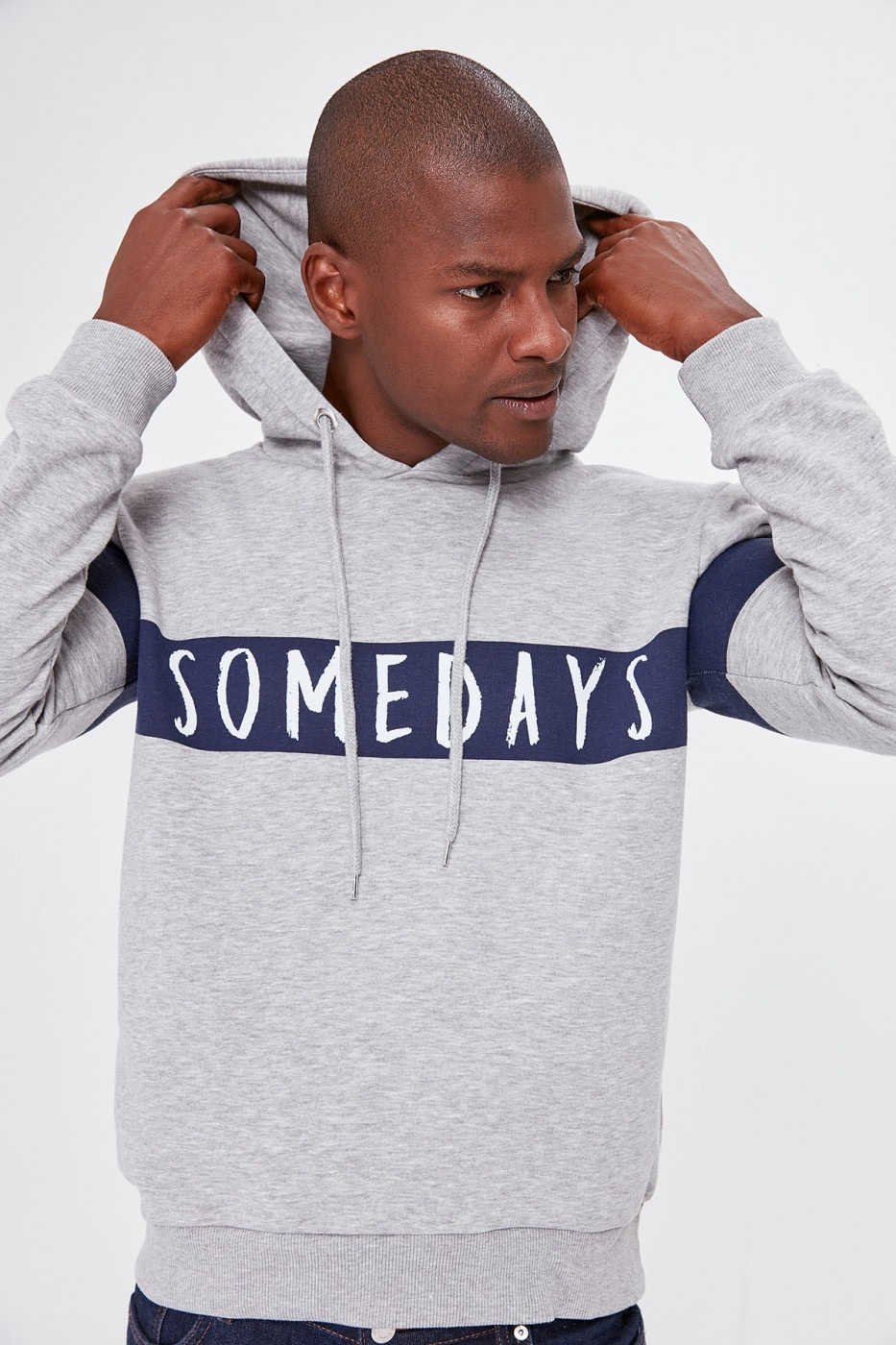 Trendyol Grey Panel printed sweatshirt