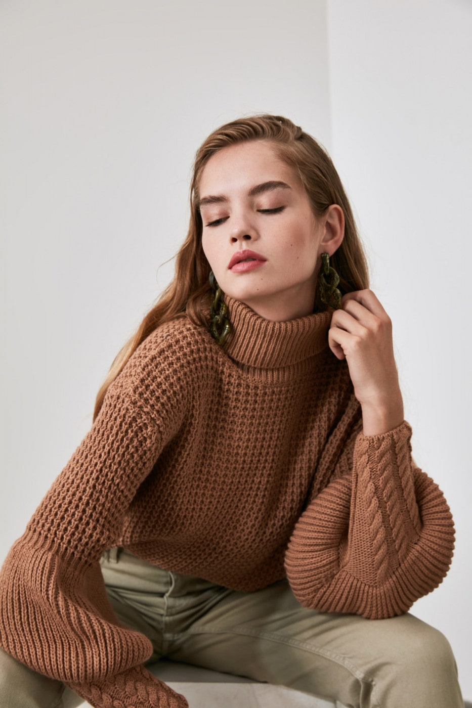 Trendyol Camel Balloon Sleeve Knit Sweater
