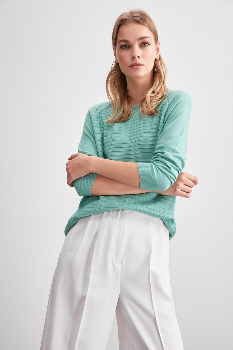 Trendyol Mint KnitTed Detailed Knitwear Sweater