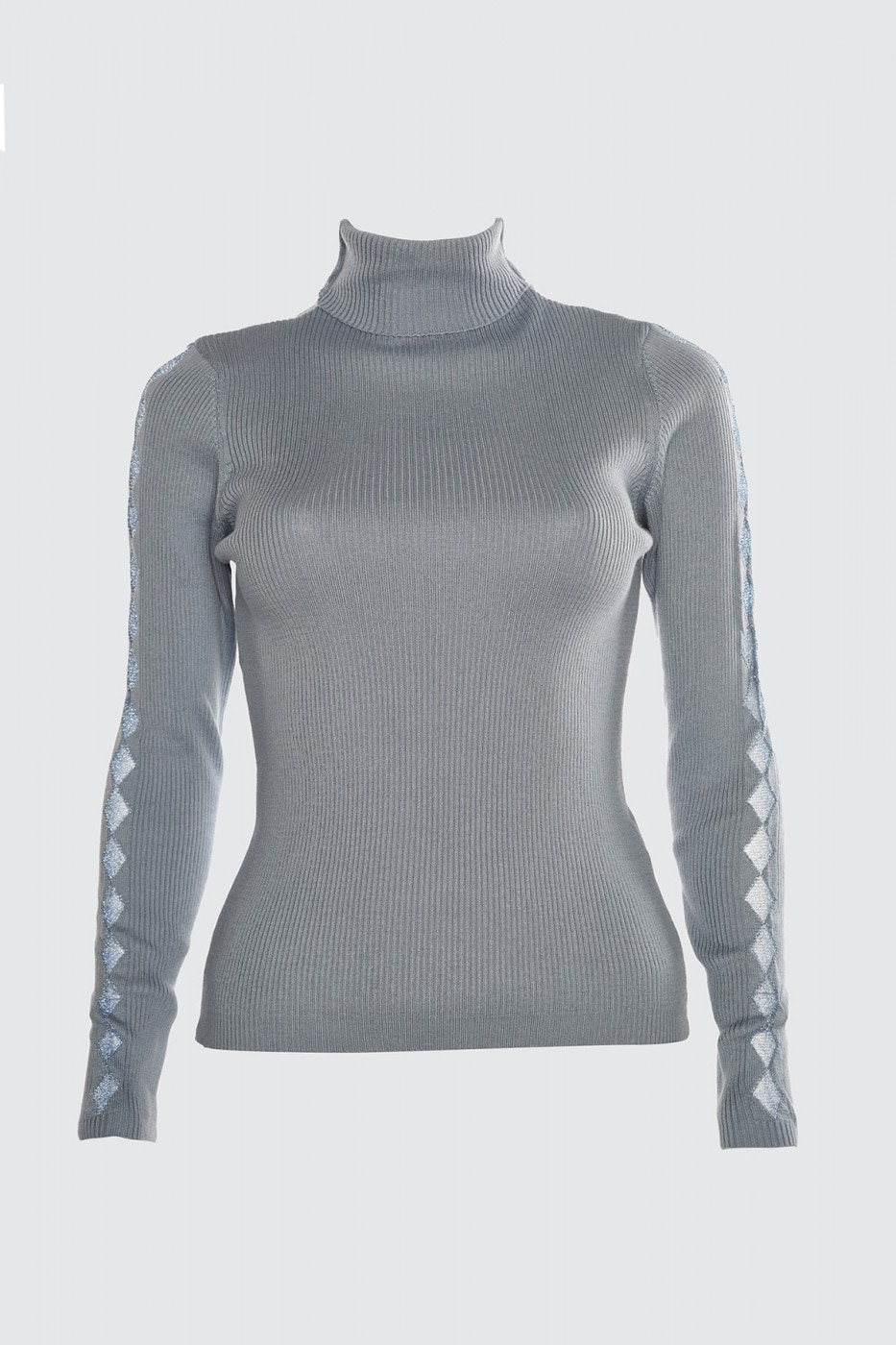 Trendyol Blue Sleeves Transparent Detailed Knitwear Sweater