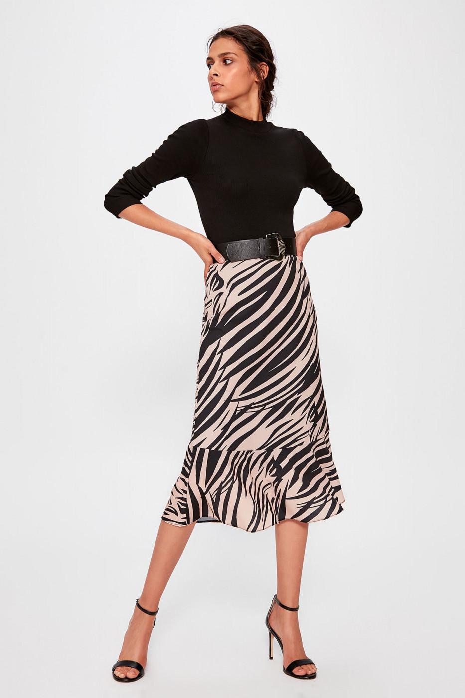 Trendyol Black Blocked Skirt