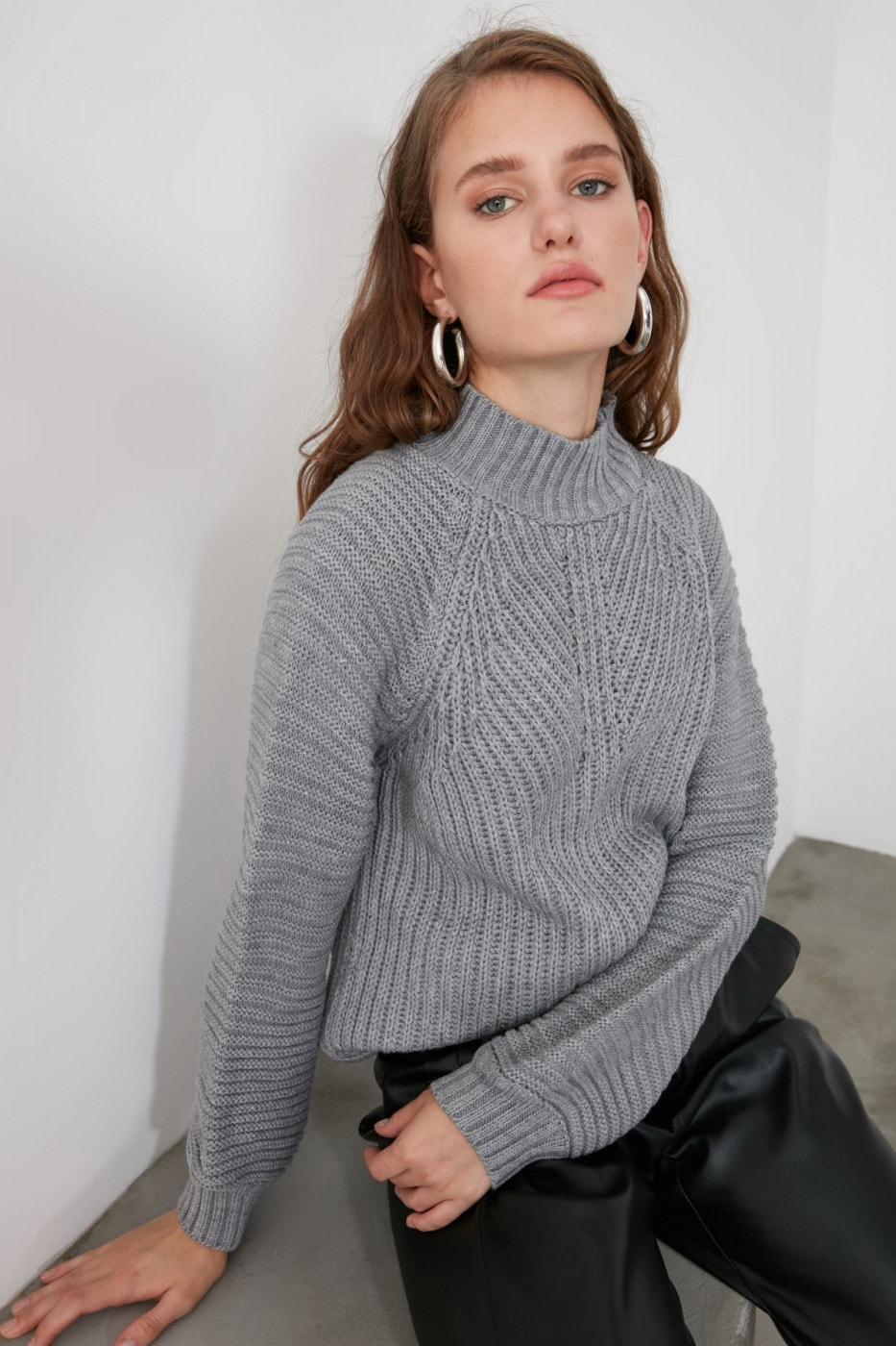 Trendyol Grey Mesh Detailed Upright Collar Knitsweater