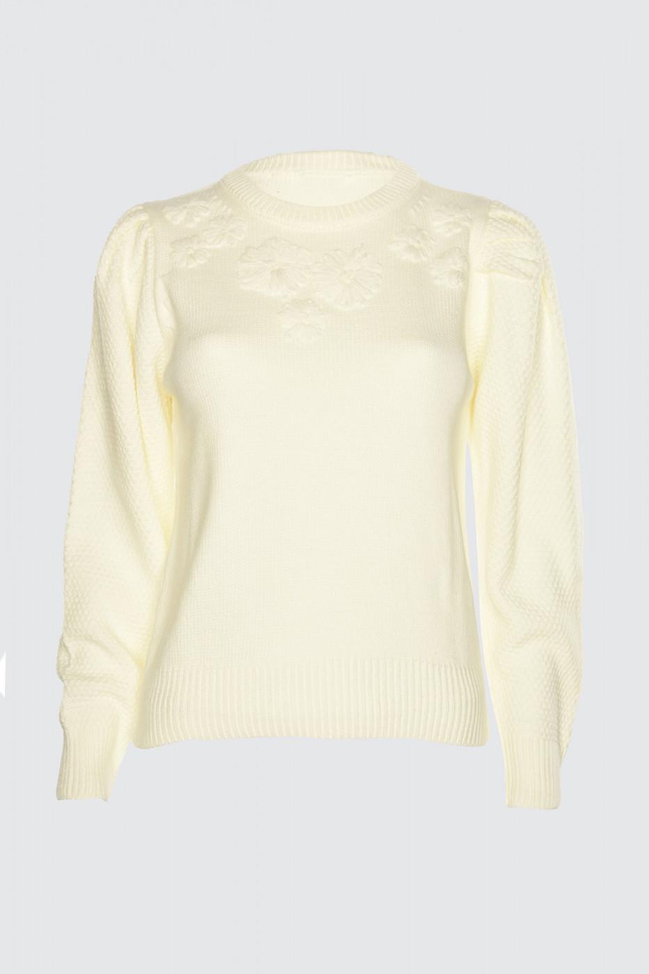 Trendyol Ekru Embroidered Knit sweater
