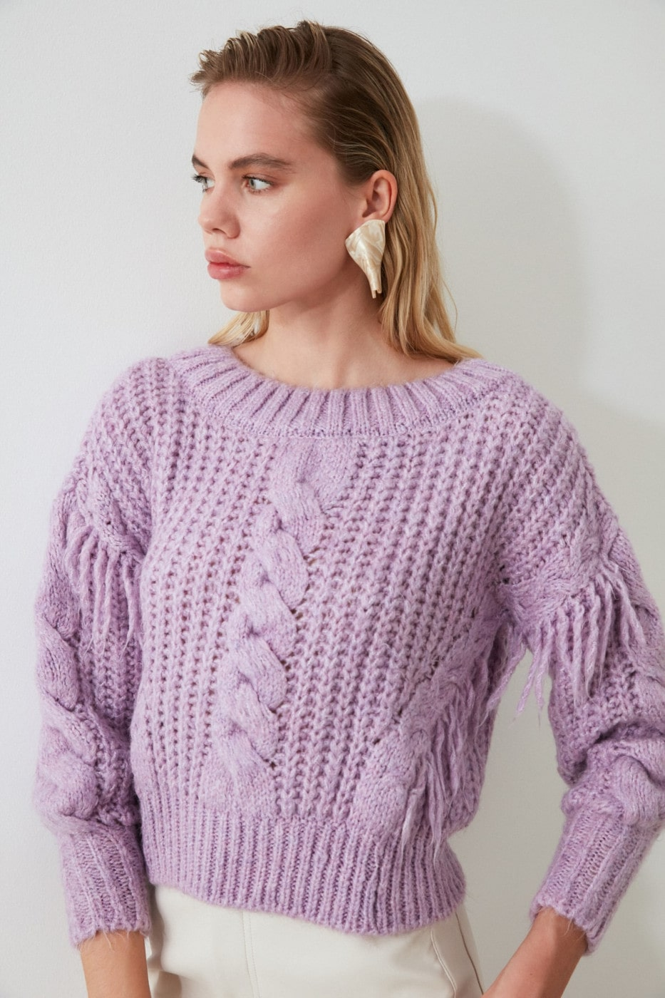 Trendyol Lila Tasseled Knit Sweater
