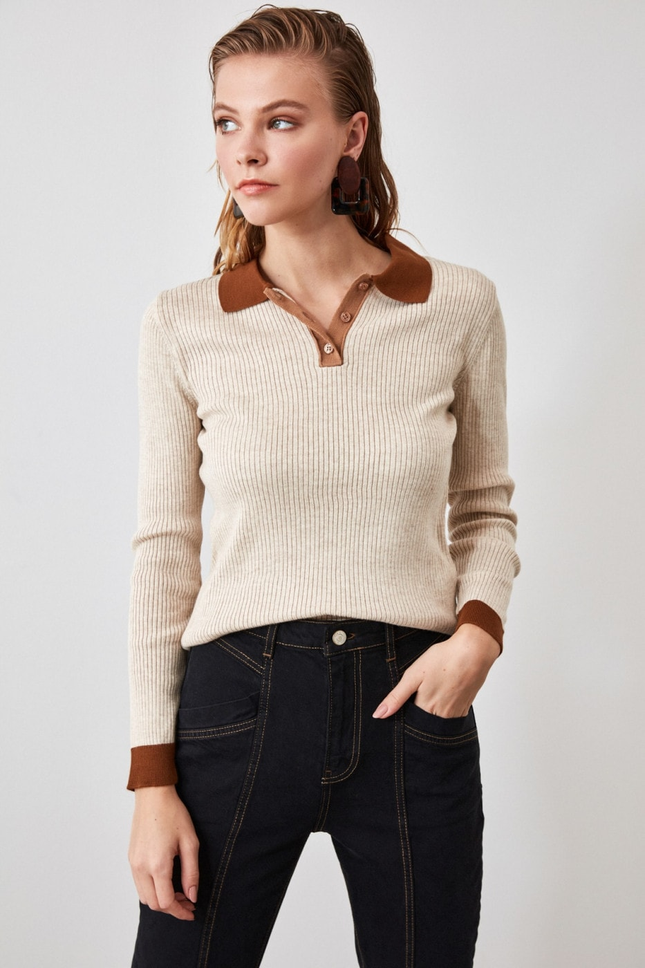 Trendyol Stone Color Block Polo Collar Knit Sweater