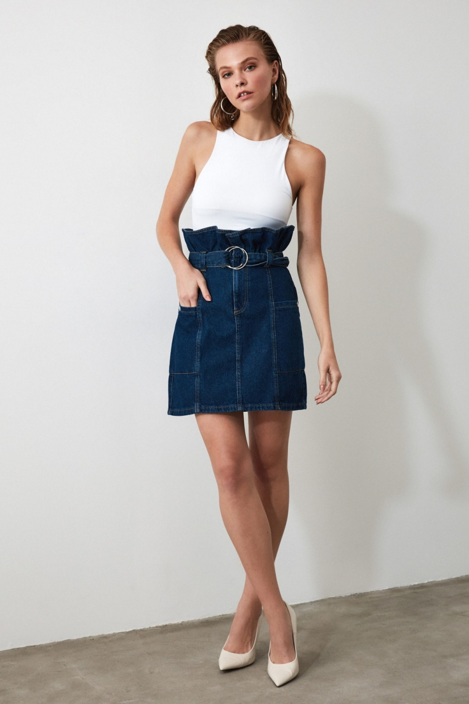 Trendyol Blue Arched Waist Detailed Denim Skirt
