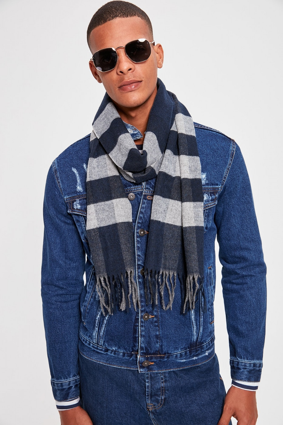 Trendyol Navy Blue Men's Plaid Scarf