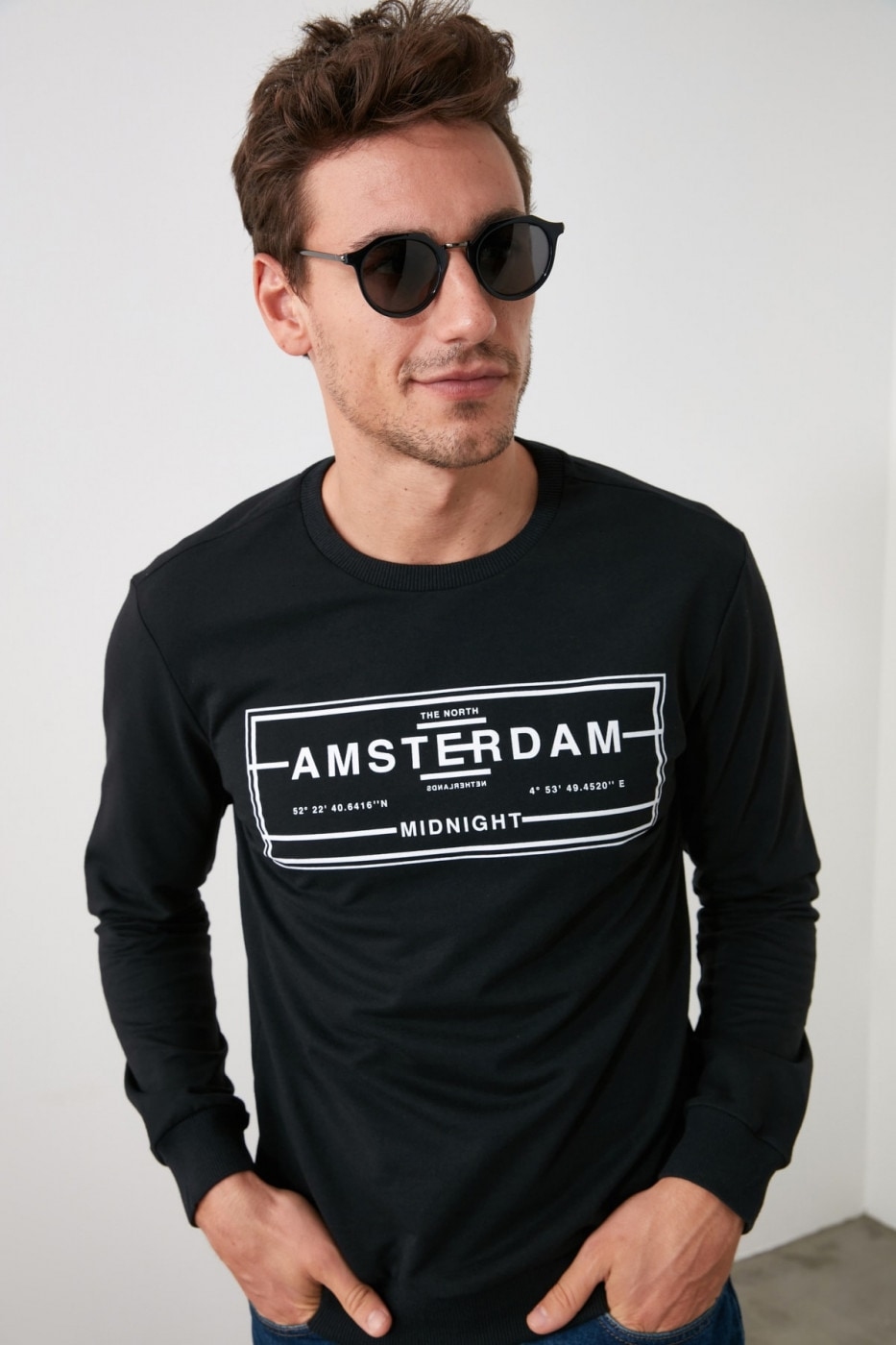 Trendyol Black Men Printed Sweatshirt