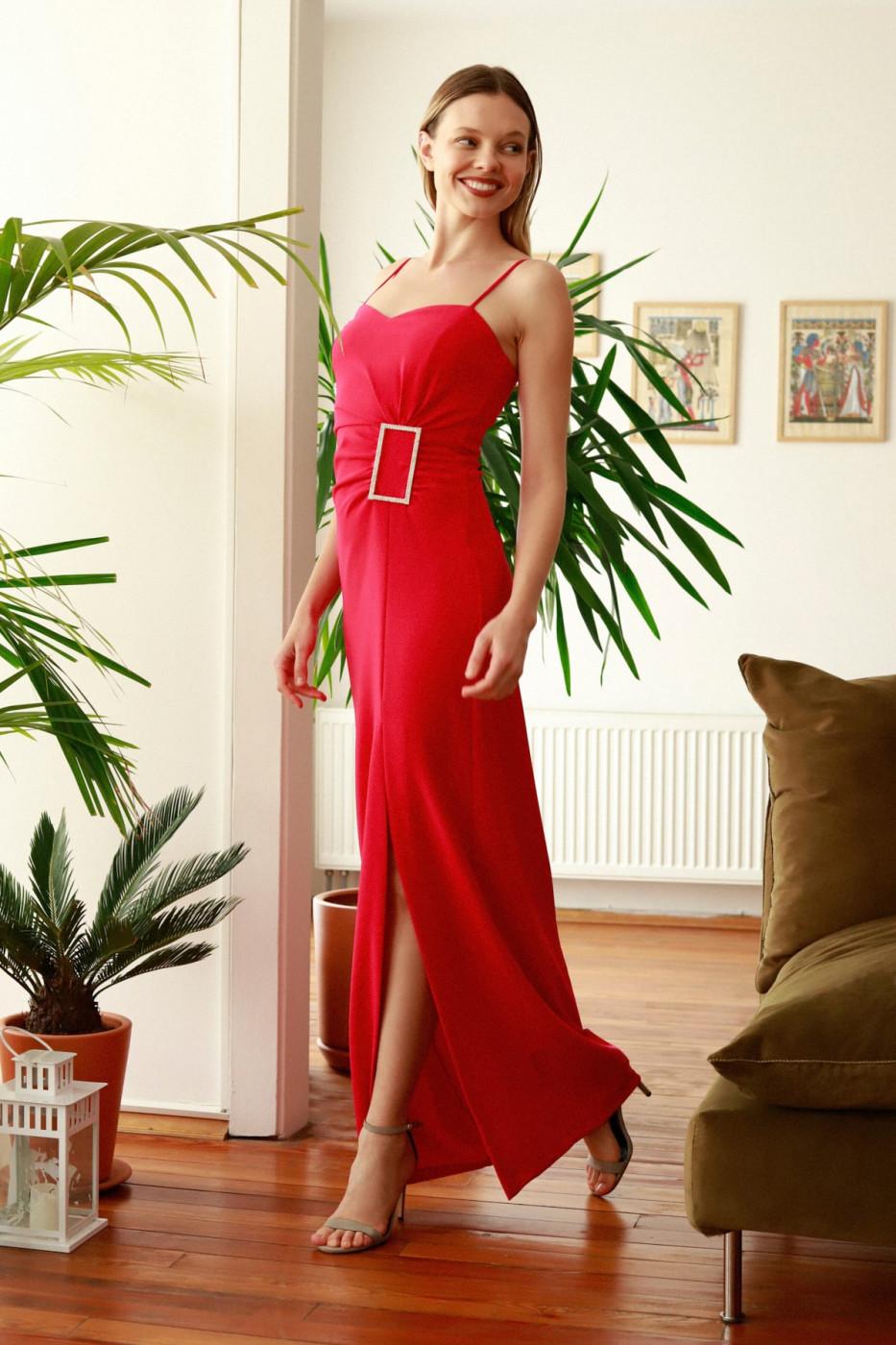 Trendyol Fuchya Accessory Detailed Evening Dress & Graduation Dress