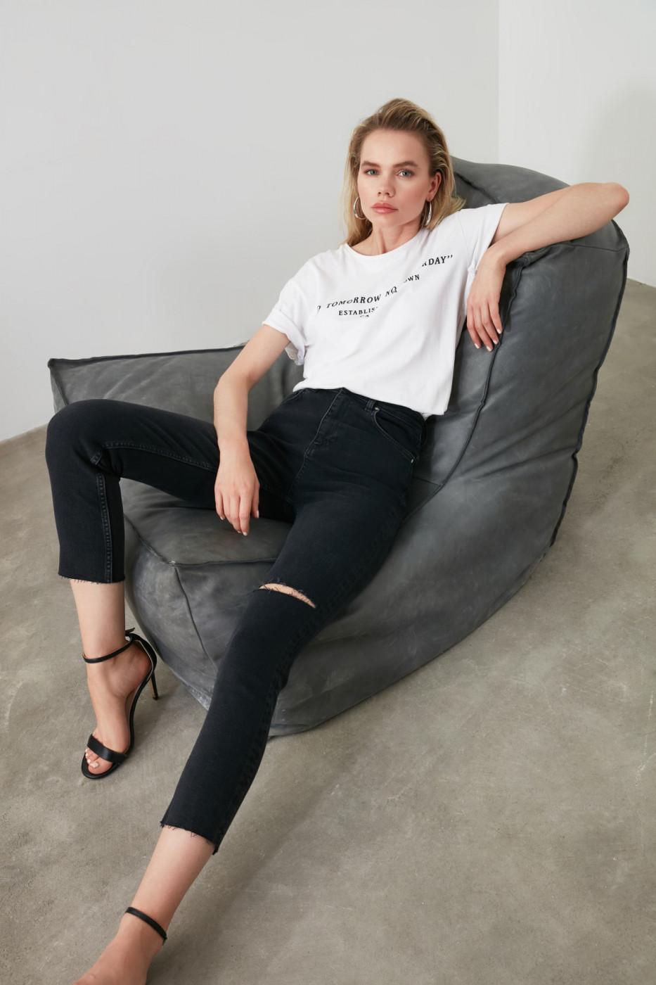 Trendyol Black Ripped High Waist Slim Fit Jeans