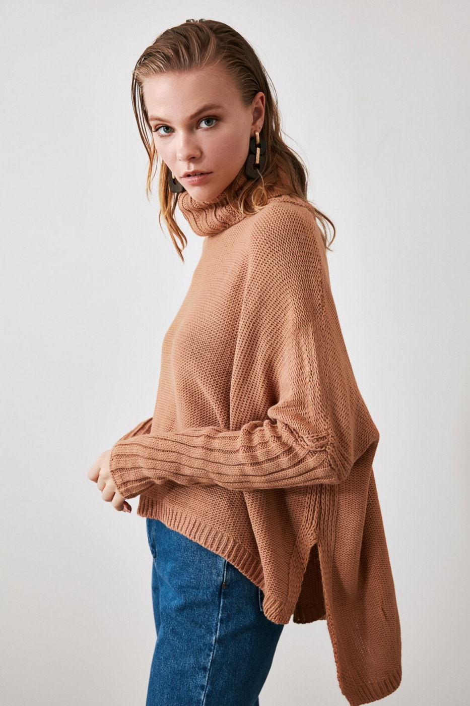 Trendyol Camel Asymmetric Knit Sweater