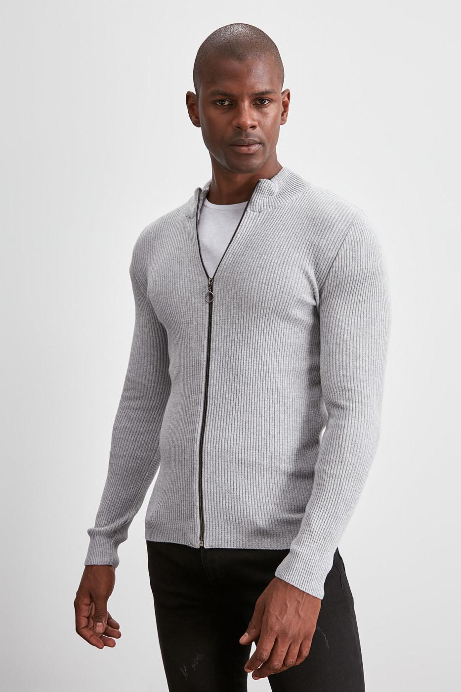 Trendyol Grey Men's Long Sleeve Front Zippered Cardigan