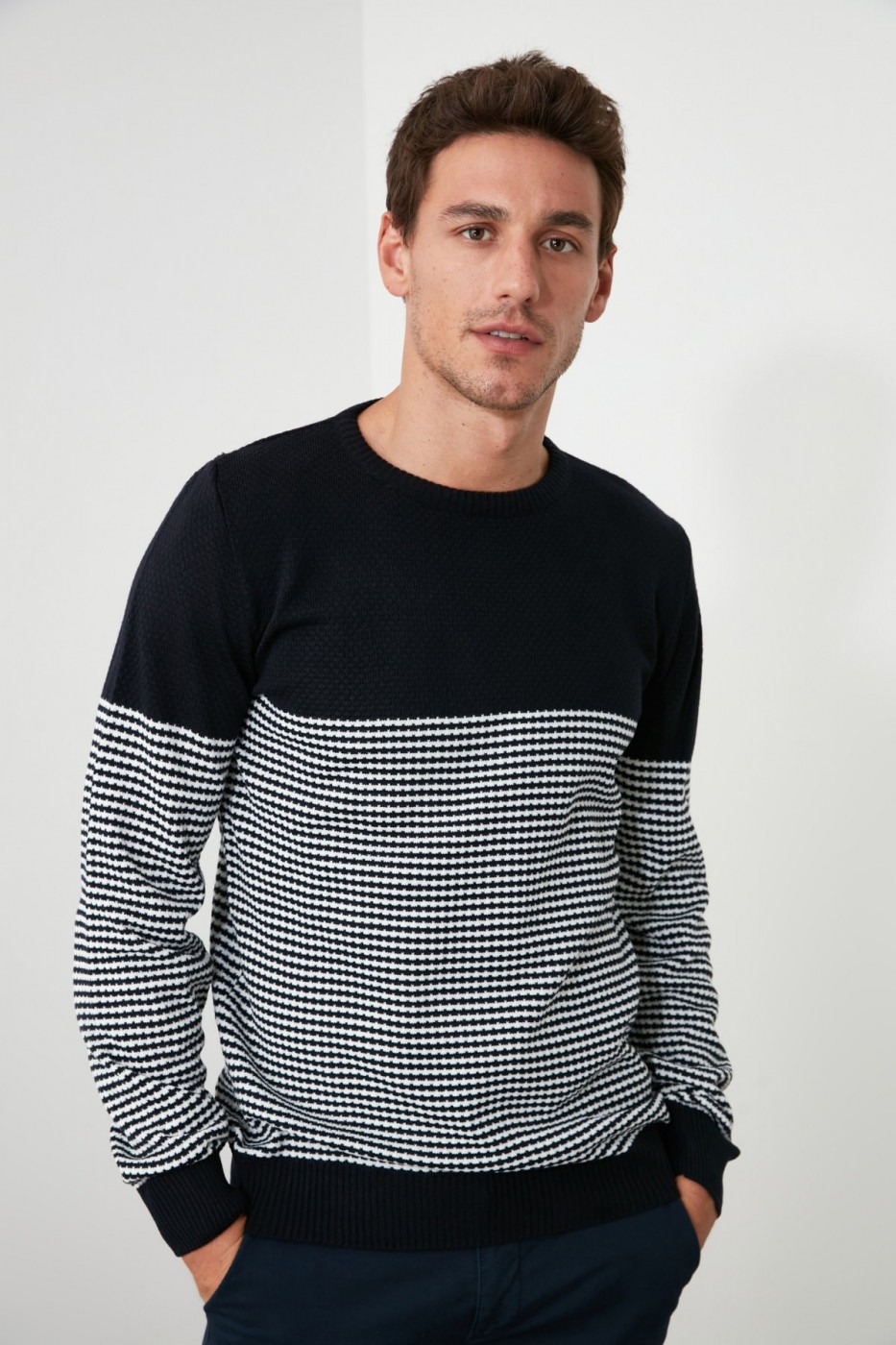 Trendyol Slim Fit KnitWear Sweater With Navy Men's Bicycle Collar Panel
