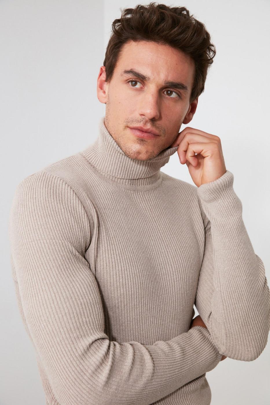 Trendyol Mink Men's Rubber Knitting Turtleneck KnitWear Sweater