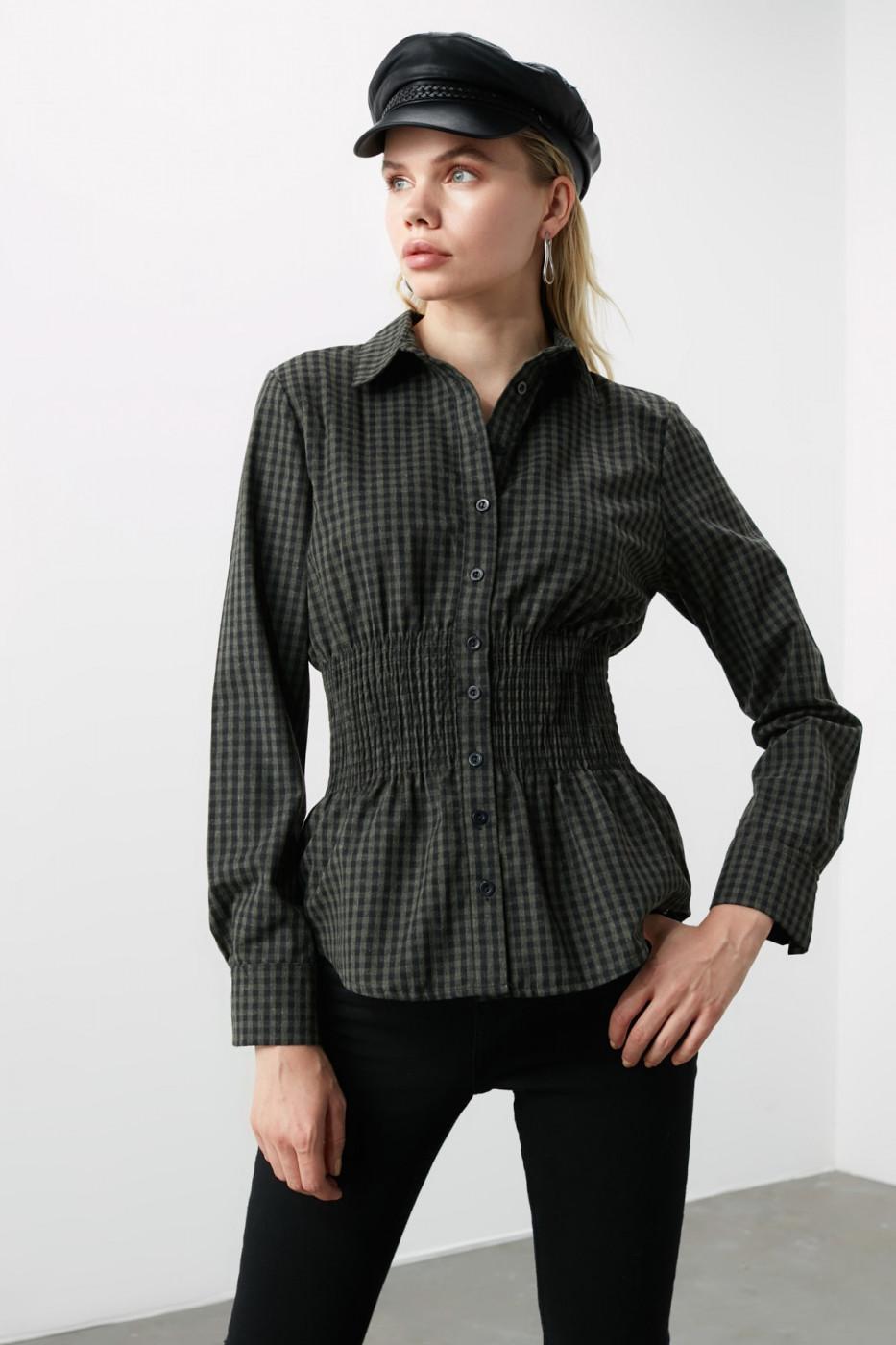 Trendyol Black Waist Rubber Shirt