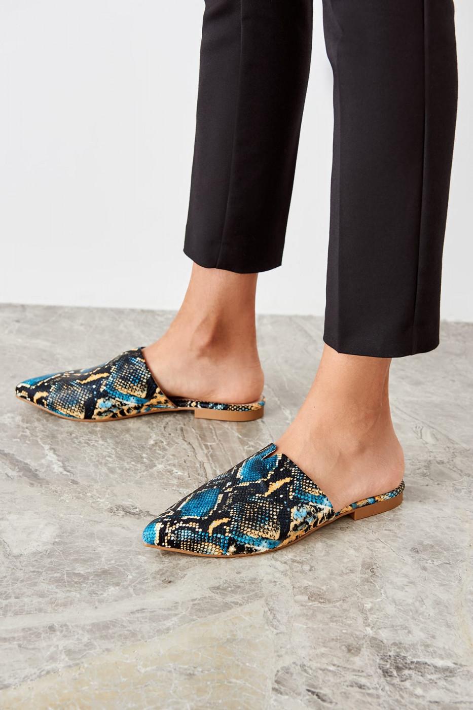 Trendyol Blue Snake patterned women slipper