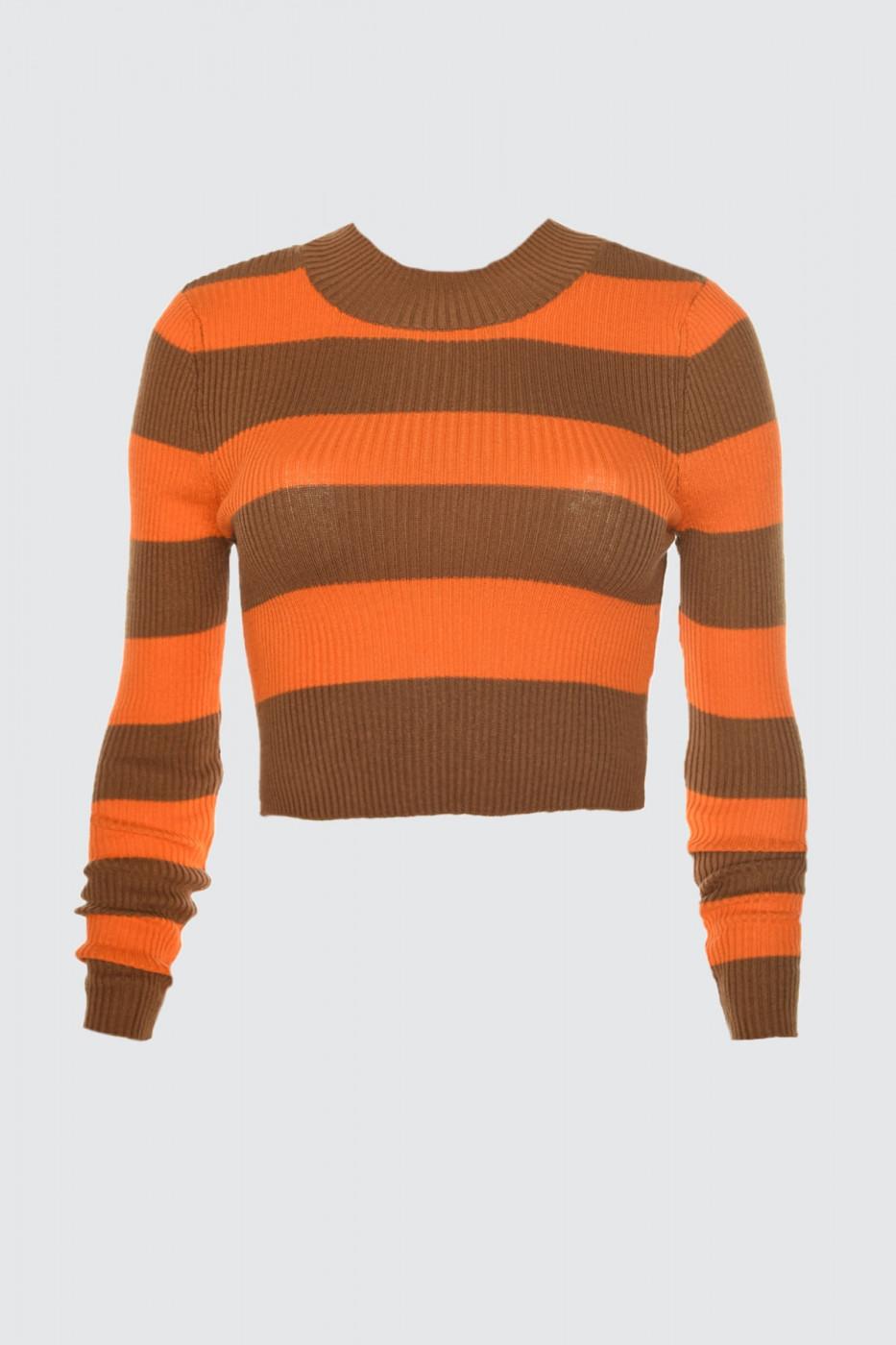 Trendyol Brown Striped Crop Knit Sweater