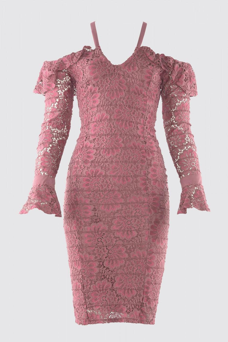 Trendyol Rose Dry Shoulder Detailed Dress