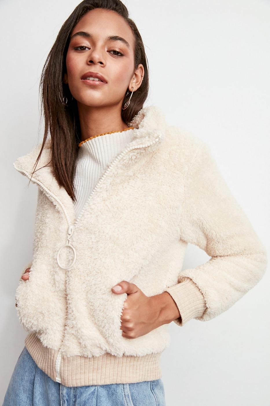 Trendyol Ekru Ribana Detailed Zipper Plush Coat