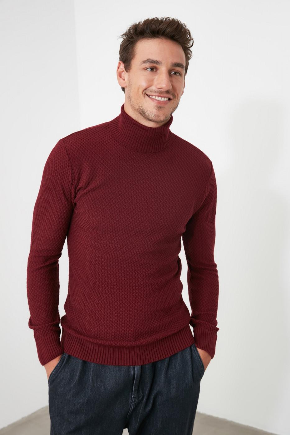 Trendyol Burgundy Male Textured Turtleneck Knitwear Sweater