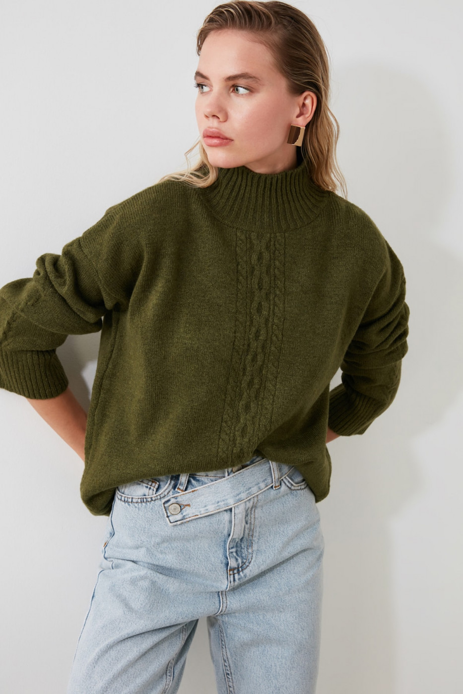 Trendyol Khaki Knitting Detailed Turtleneck KnitSweater