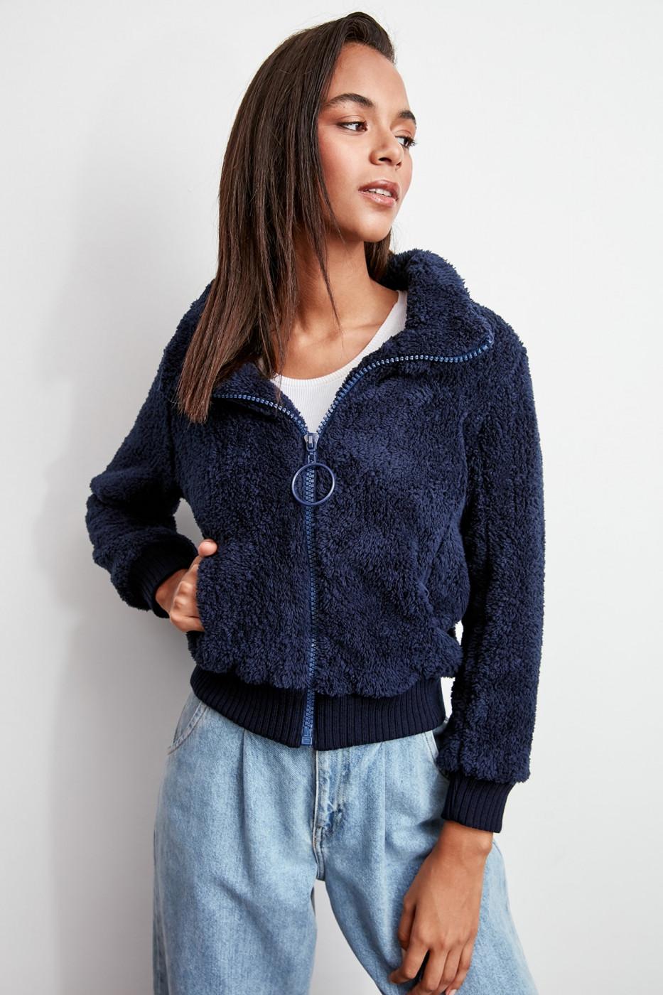 Trendyol Indigo Ribana Detailed Zipper Edgy Coat