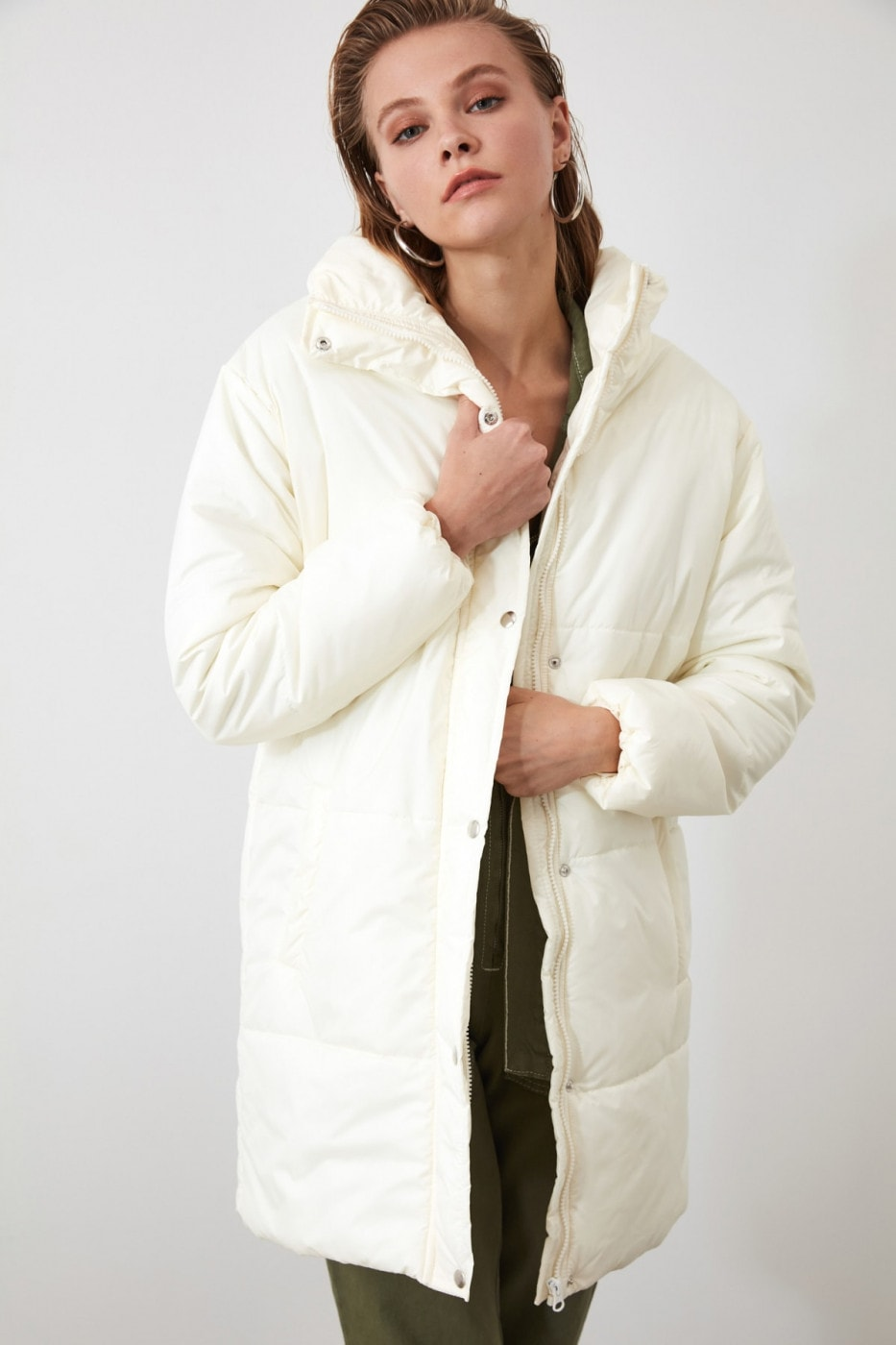 Trendyol Ekru Zipper Closed Long Inflatable Coat