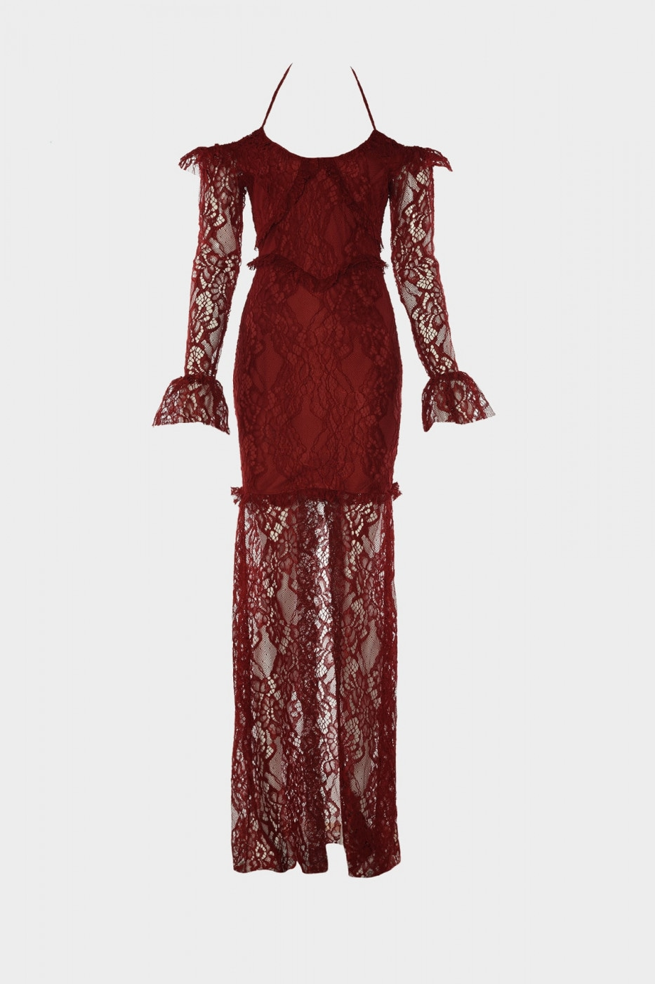Trendyol Burgundy Drape Detailed Lace Evening Dress