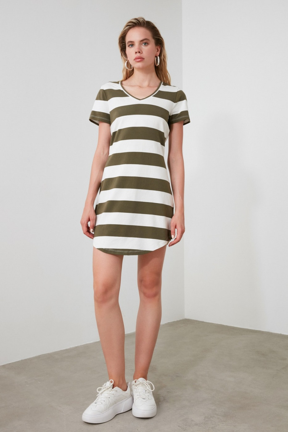 Trendyol Khaki Striped V Collar Knitting Dress