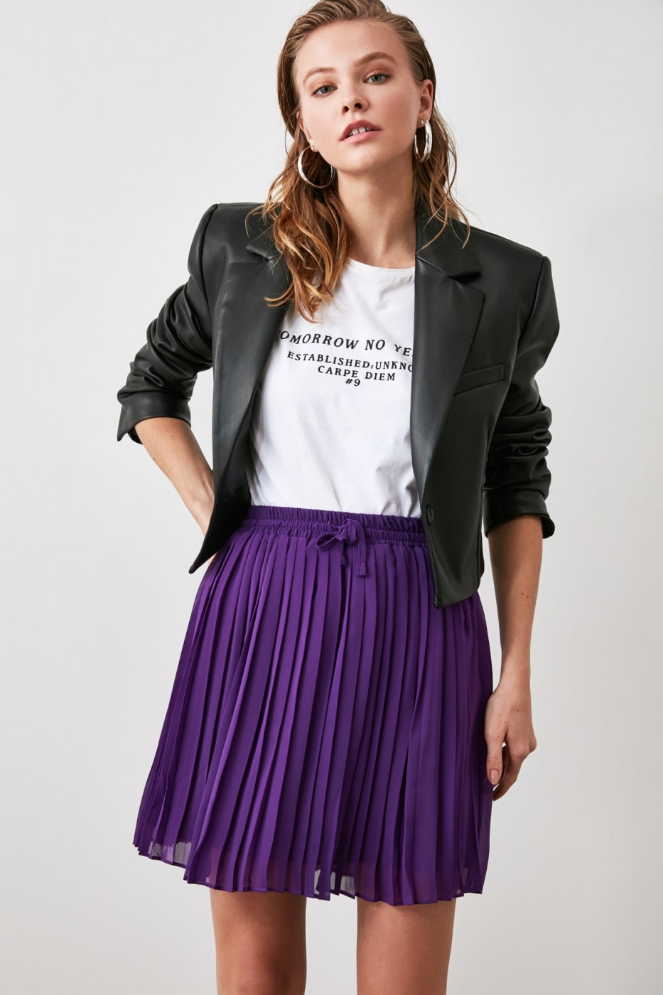 Trendyol Purple Binding Detailed Skirt