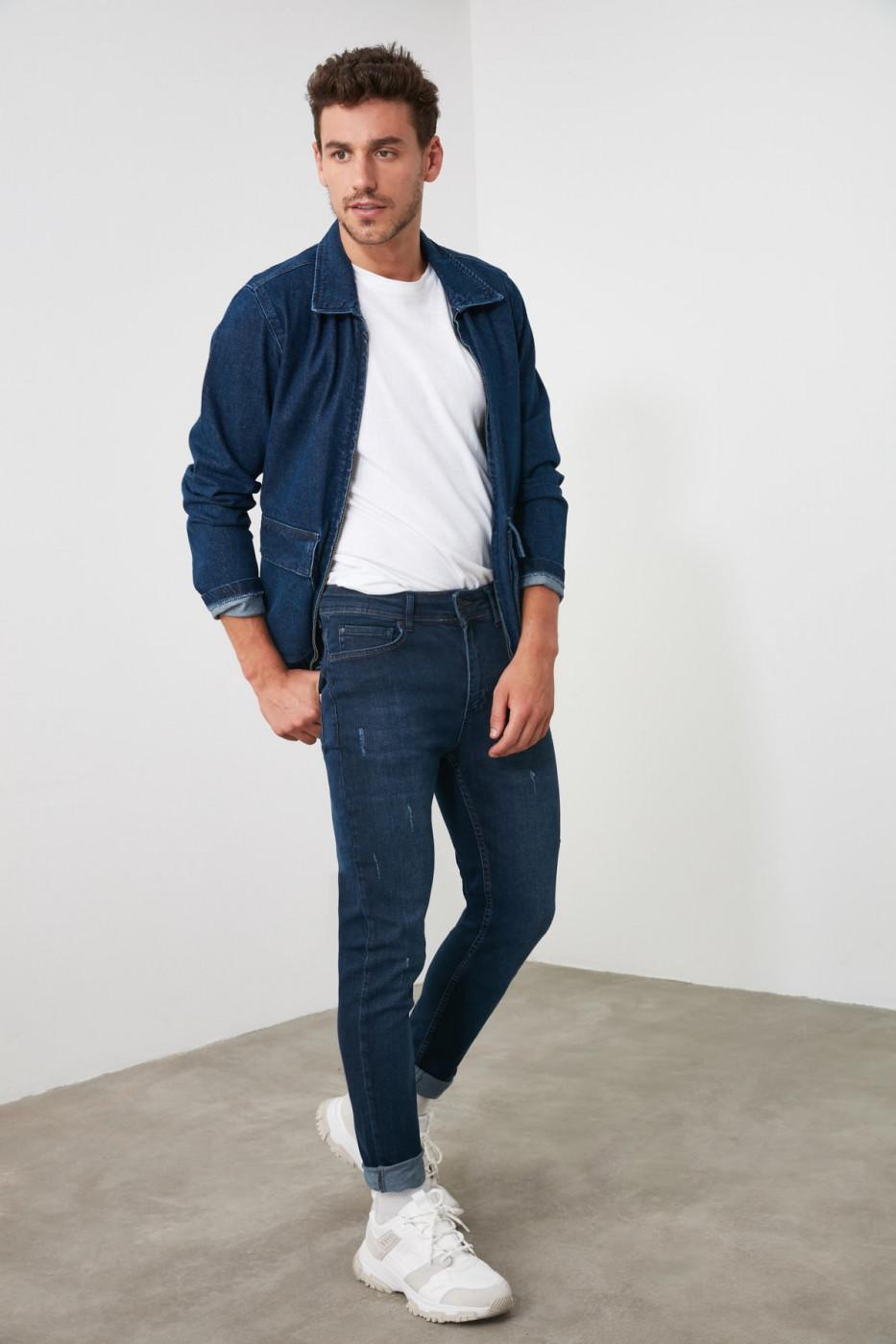 Trendyol Navy Male Destroylu Tapared Skinny Jeans