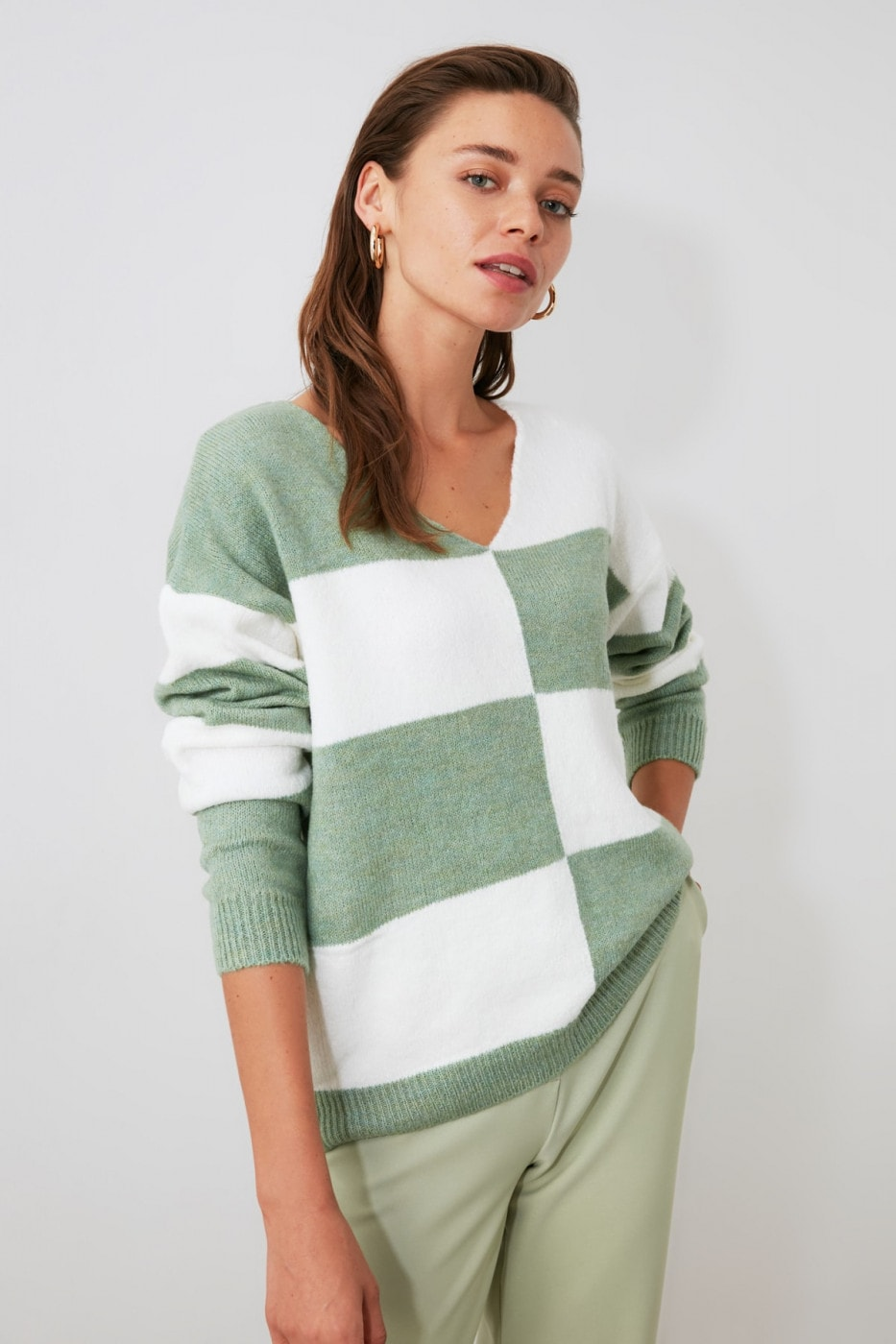 Trendyol Mint Color Block Bicycle Collar Knit Sweater