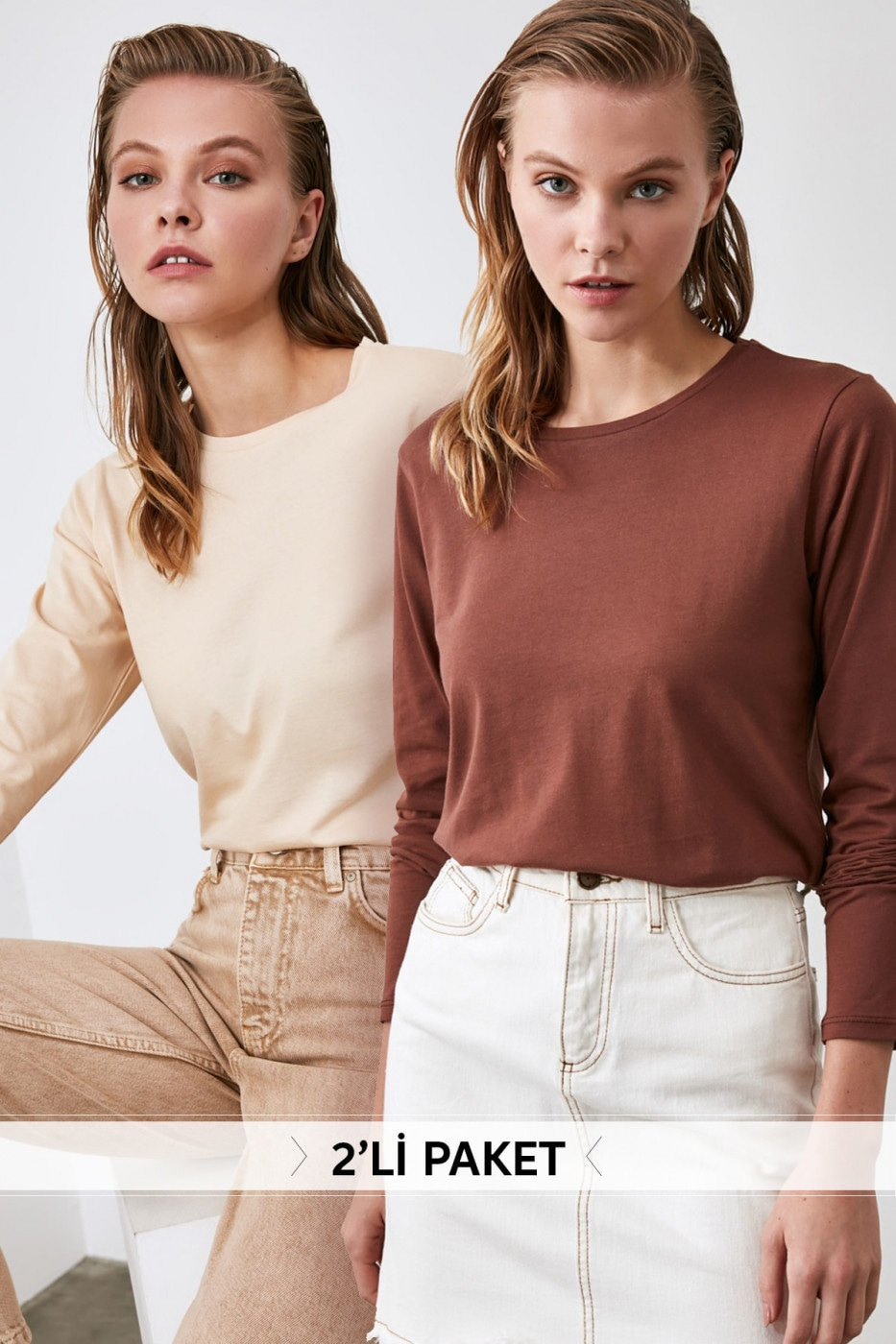 Trendyol Beige and Brown 2 Pack Bike Collar Basic Long Sleeve Knitted T-Shirt