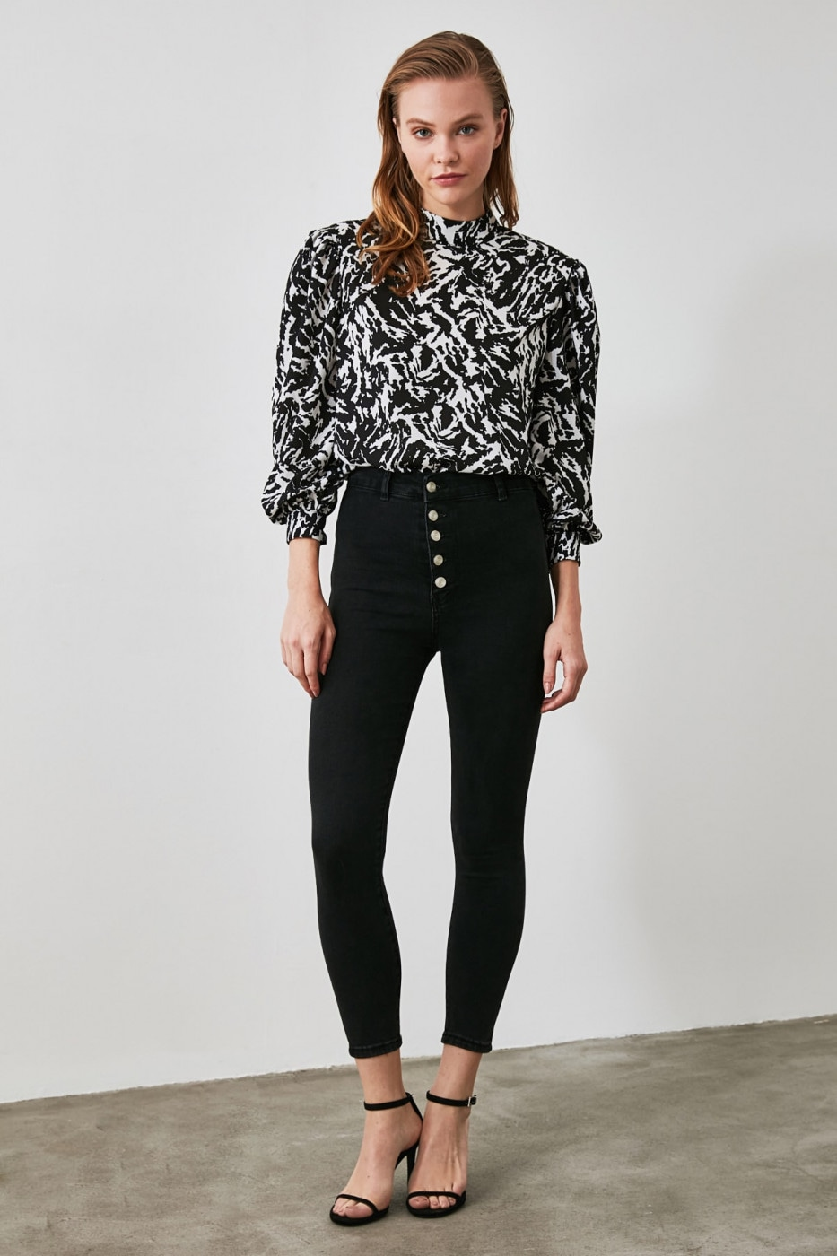 Trendyol Anthracite Front ButtonEd Jegging Jeans