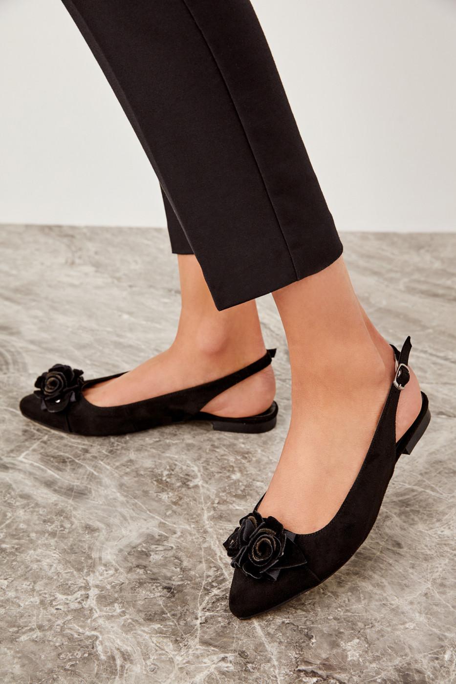 Trendyol Black Suede Women's Flats
