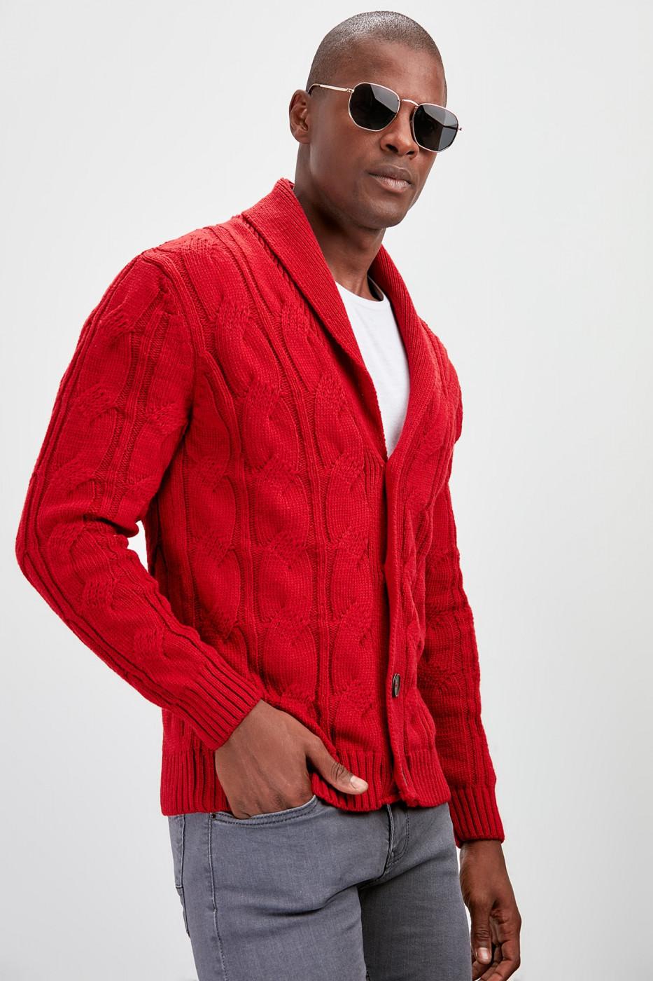 Trendyol Red Men's Shawl Collar Pocket Cardigan