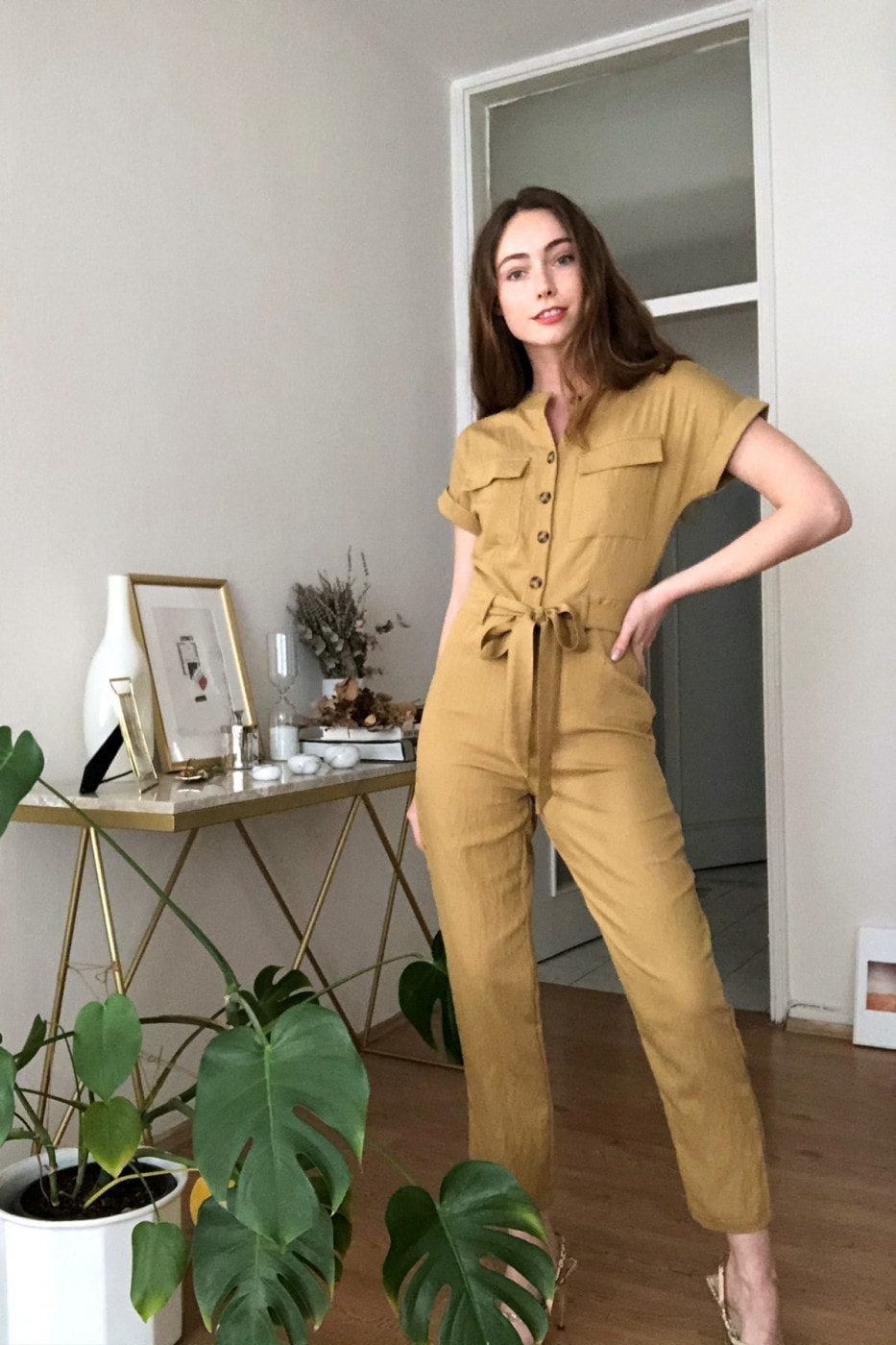 Trendyol Mustard Button Detailed Jumpsuit
