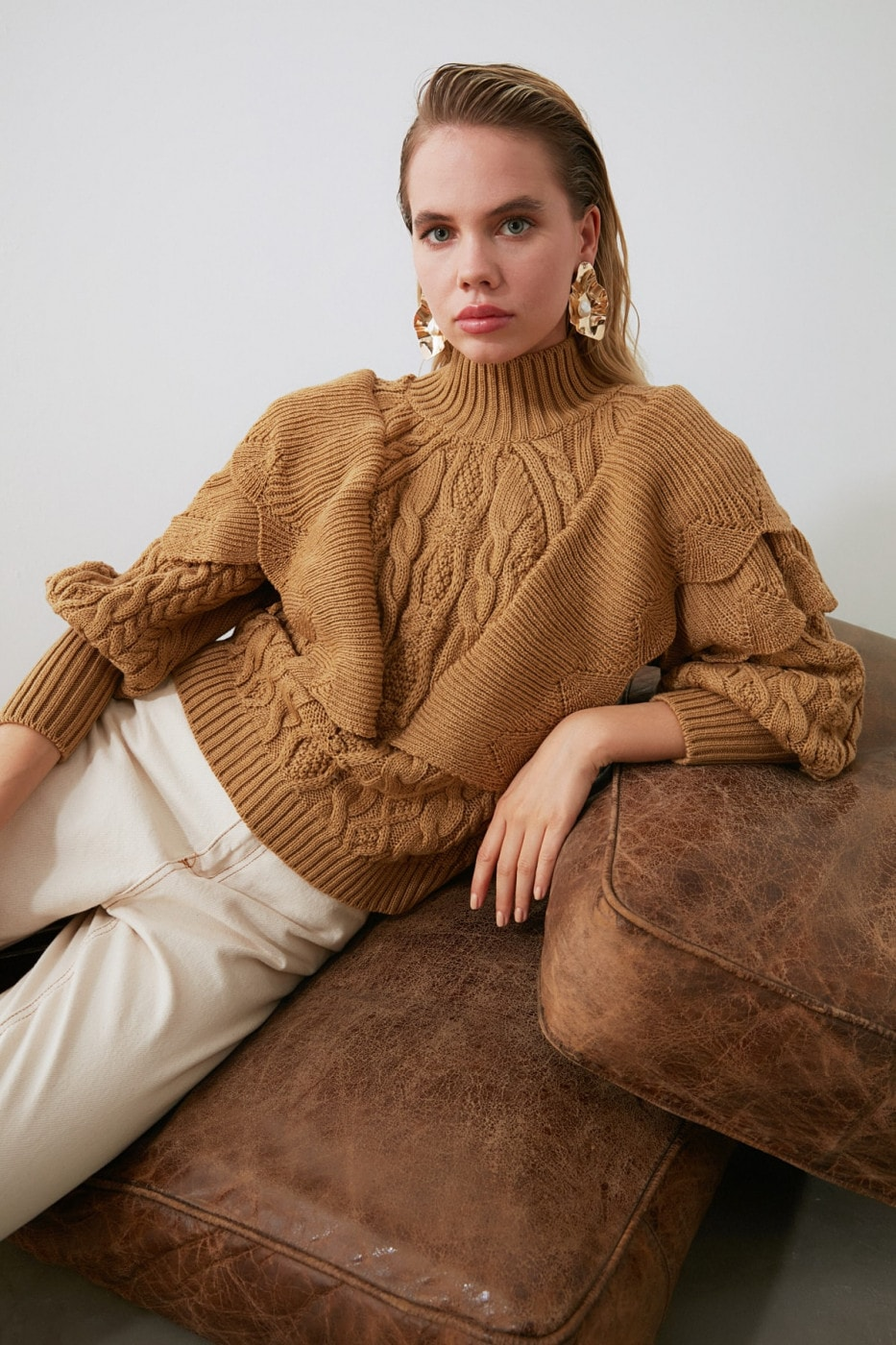 Trendyol Camel Mesh Detailed Volli Knit Sweater