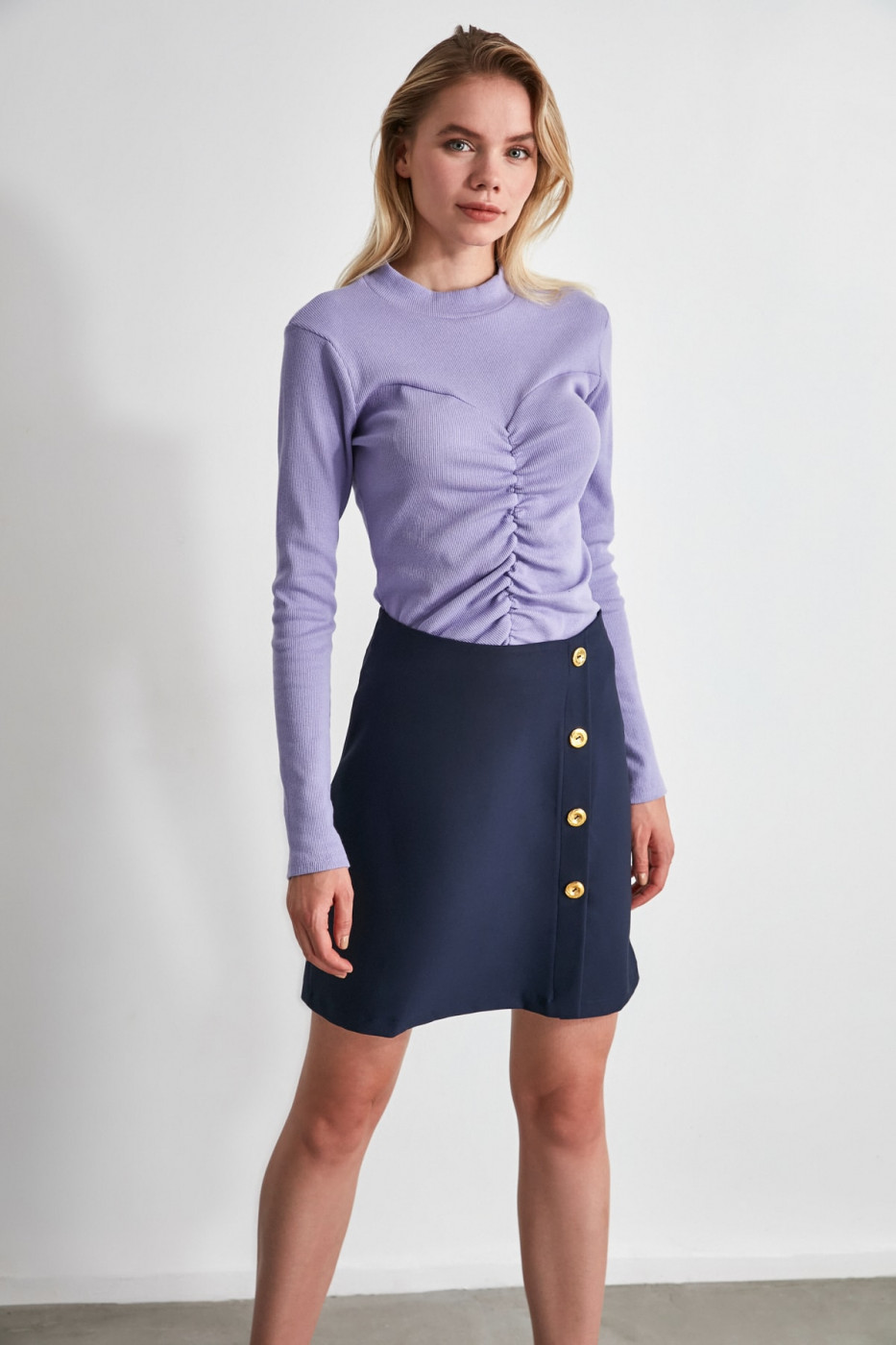 Trendyol Navy Button Skirt