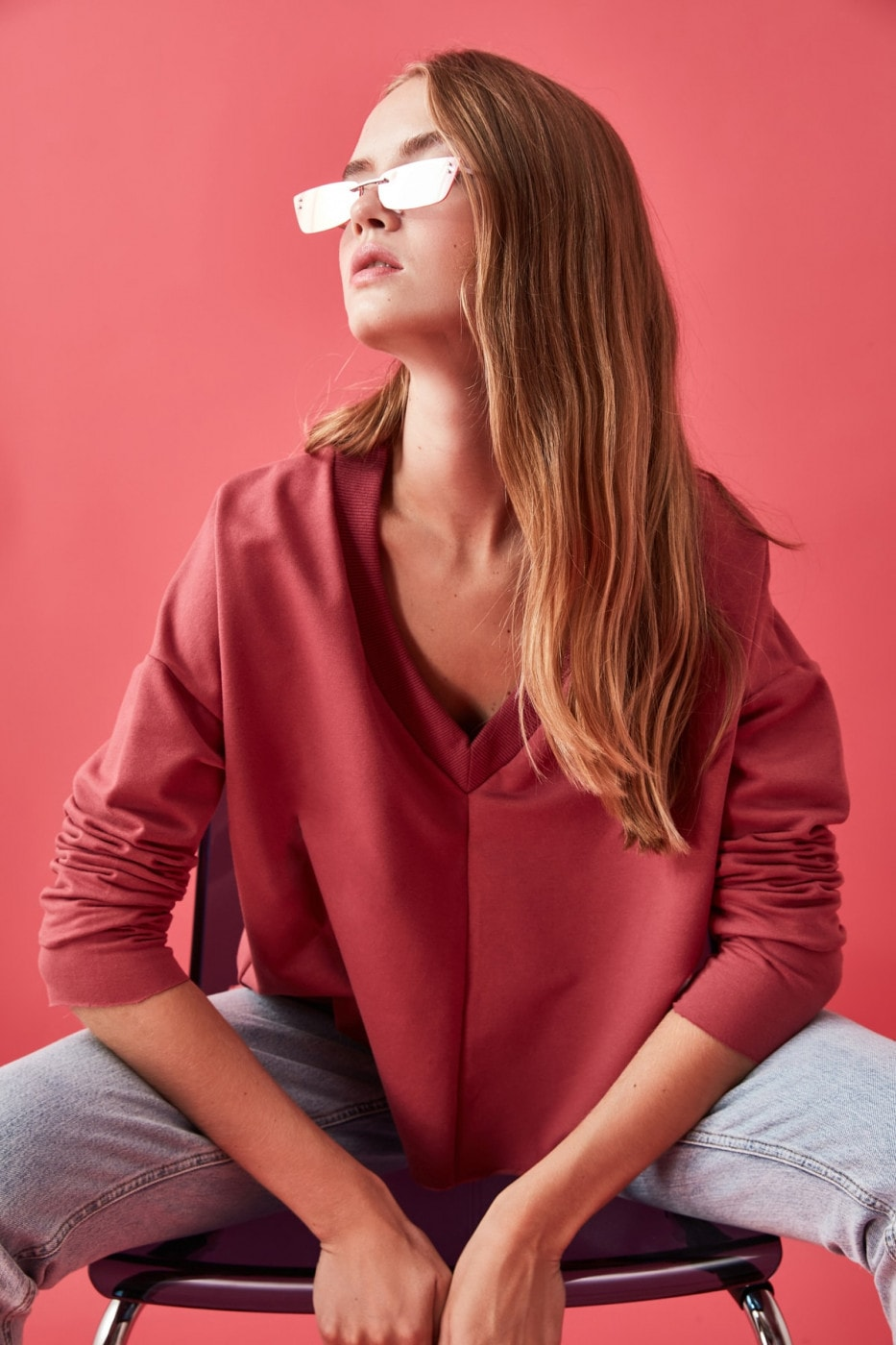 Trendyol Rose Dry V Collar Swand Knitted Sweatshirt